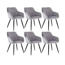 woltu 6 x esszimmerstühle 6er set esszimmerstuhl küchenstuhl polsterstuhl design stuhl mit armlehne mit sitzfläche aus