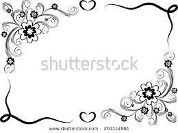Borders Design Black And White Vector Flowers Border Stock Cool
