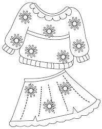 Spring Clothes Coloring Pages Print Page Stock Illustration Image For