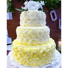Our beautiful 3 tier yellow ombre rosette weddingcake design from last