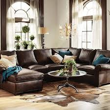Living Room Ideas Brown Leather Sofa by Chocolate Brown Leather Sectional W Round Ottoman Picmia