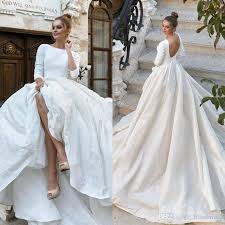 2018 New Simple Satin Ball Gown Wedding Dresses 34 Long Sleeves