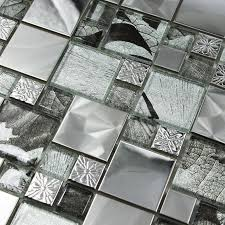 glass wallpaper mosaic stainless steel mirror puzzle