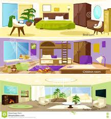 horizontale karikatur wohnzimmer innenraum fahnen vektor