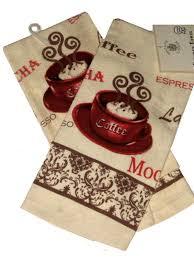 Kitchen Theme Decor Sets Coordinating Coffee Towel Pattern Espresso Mocca