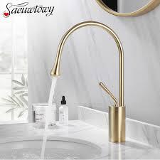 luxus gebürstet goldene becken wasserhahn 360 rotatble auslauf wasserhahn messing mischbatterie für küche heißer kaltes wasser badezimmer becken