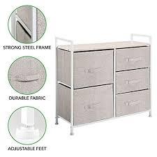 mdesign kommode aus stoff schmaler schrank organizer mit 5 schubladen praktisches aufbewahrungssystem für schlafzimmer schlafsaal und kleine