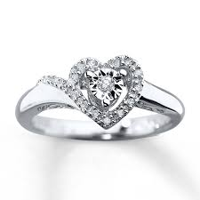 Heart Promise Ring 1 10 Ct Tw Diamonds Sterling Silver