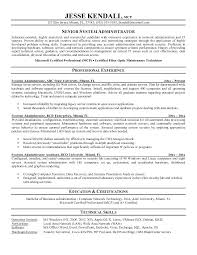 Sample Resume Of Server Administrator As Well System Template Format