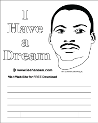 MLK Worksheet I Have A Dream With Picture Of Rev His Famous Quote And Lines For Writing