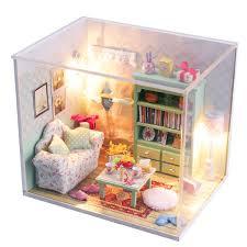 New Hoomeda DIY Mini Dream House Wood Dollhouse Miniature With LED