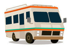 Vintage RV Camper Cartoon For Vacations Stock Images