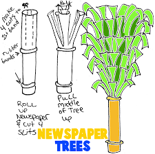 Making Trees From Newspaper Rolls