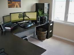 furniture l shaped black wooden working desk combined black tone