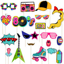 Amosfun 80s Party Photo Booth Props 1980s Theme Birthday Party Decoration Birthday Photo Booth Props On A StickPack Of 21