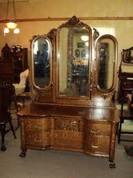 antique quarter sawn oak vanity dresser w 3 beveled mirrors circa