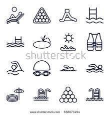 Pool Icons Set Of 16 Outline Such As Billiards Waterslide