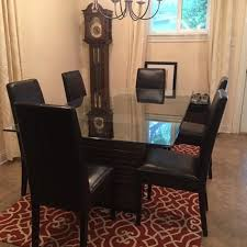 Glass Dining Table With 6 Chairs And Matching Buffet