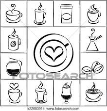 Set Of Black And White Vector Freehand Doodle Sketch Coffee Icons With Steaming Cups Mugs A Pot Percolator Takeaway Iced Around
