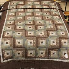 Twin Log Cabin Quilt Brown and Teal Quilt Twin Quilt