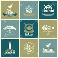 Set Of Logos On The Theme Seafood In Retro Style Stock Vector