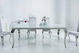 barock design esstisch modern barock 180cm weiß edelstahl esszimmertisch opalglas tischplatte