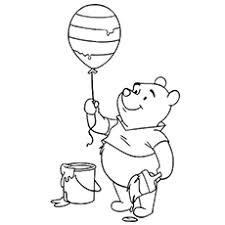 Pooh Coloring The Balloon Sheets