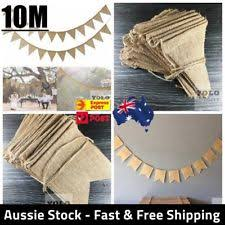 10M 48 Flags Hessian Banner Burlap Rustic Bunting Wedding Party Decorations AUS