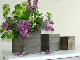 Large Wood Box Woodland Lilac Lily Of The Valley Planter Pot Vases Wooden Boxes Rustic Wedding Garden Party Flower
