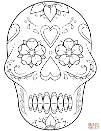 Click The Sugar Skull With Flowers And Hearts Coloring Pages