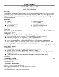 Summer Job Resume Sample