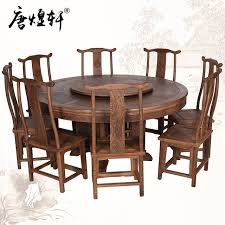 Mahogany Furniture Large Dinette Combination Of Wenge Wood Round Table With Chinese