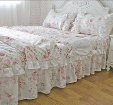 FADFAY Home TextileRomantic American Rustic Vintage Floral Bedding SetSweet Pink Roses Duvet