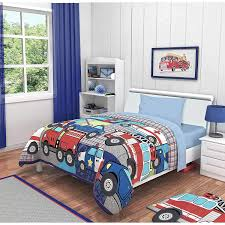 100 Fire Truck Bedding Durable Modeling TN 4 Piece Boys Red Truck Toddler Blue