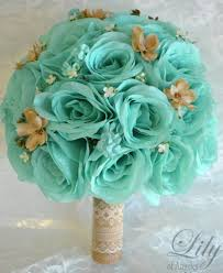 Bridal Bouquets Wedding 17 Piece Package Silk Flowers Bouquet POOL ROBINS Egg Blue Sea Foam TAN Rustic Lace Burlap Lily Of Angeles TIBE01