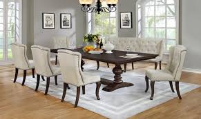 6 Pc Sania II Collection Antique Espresso Finish Wood Rustic Style Dining Table Set With Tufted