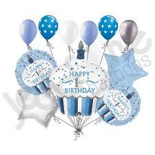 Blue & Silver Cupcake 1st Birthday Boy Balloon Bouquet