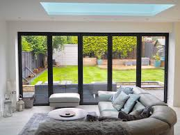 White Scandinavian Modern Living Room Open Plan Bifold Door Garden