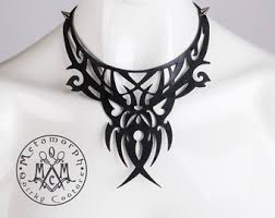 Leather Bib Necklace Cut Out Black Filigree Collar Edgy Fashion Statement Spiky Burning