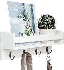vencipo wandregal holz für organizer küche gewürzregal regal weiß für schlüsselbrett organizer mit 4 haken wand dekoration für bücherregal