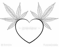 Printable Adult Color Page Heart Cannabis Leaf Marijuana Mary Jane Medical Herb