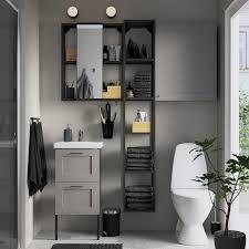 enhet tvällen badezimmer set 16 tlg grau rahmen anthrazit lillsvan mischbatterie 44x43x87 cm
