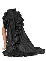 roberto cavalli ruffled silk taffeta layered skirt in black lyst