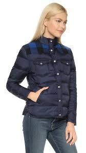 penfield rockford plaid yoke down jacket in blue lyst