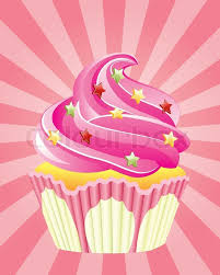 Vector Pink Cupcake With Sprinkles On