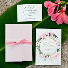 Pink And Gold Foil Pocket Wedding Invitations With In Watercolors EWPI209 2