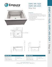 Floor Mounted Mop Sink Dimensions by Empura Emfc Ms 2424 28