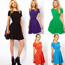 1111 1pecs casual women dress jersey solid design vestido short