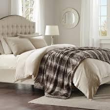 Amazon Zuri Faux Fur Oversized Bed Throw Grey 96x80