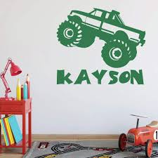 100 Monster Truck Bedroom Wall Decal Personalized Vinyl Decor For Boys
